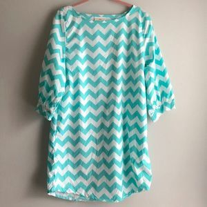 Lolly Wolly Doodle Teal Chevron Mod Tunic Dress